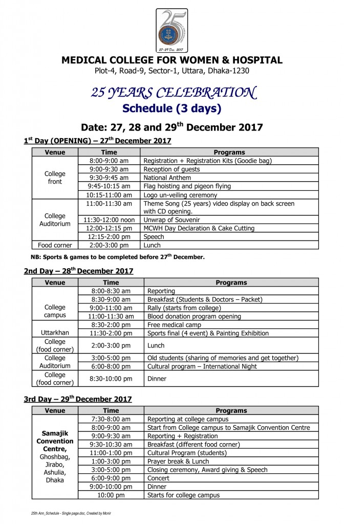 25th Ann_Schedule - Single page
